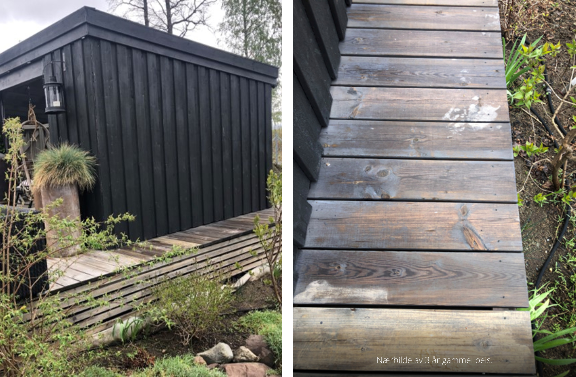 Til venstre på bildet 1 år gammel SiOO:X og til høyre på bildet 3 år gammel beis. Bildet er tatt 1 time etter regn, SiOO:X siden er tørr mens beis siden er fortsatt våt.